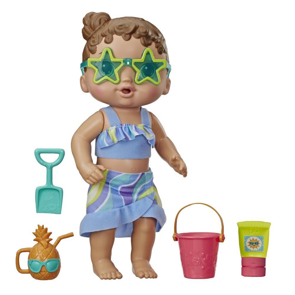 Baby Alive - Bebé Sol y arena - Muñeca con cabello castaño, ropa de playa y 5 accesorios - Juguete para niños y niñas de 3 años en adelante