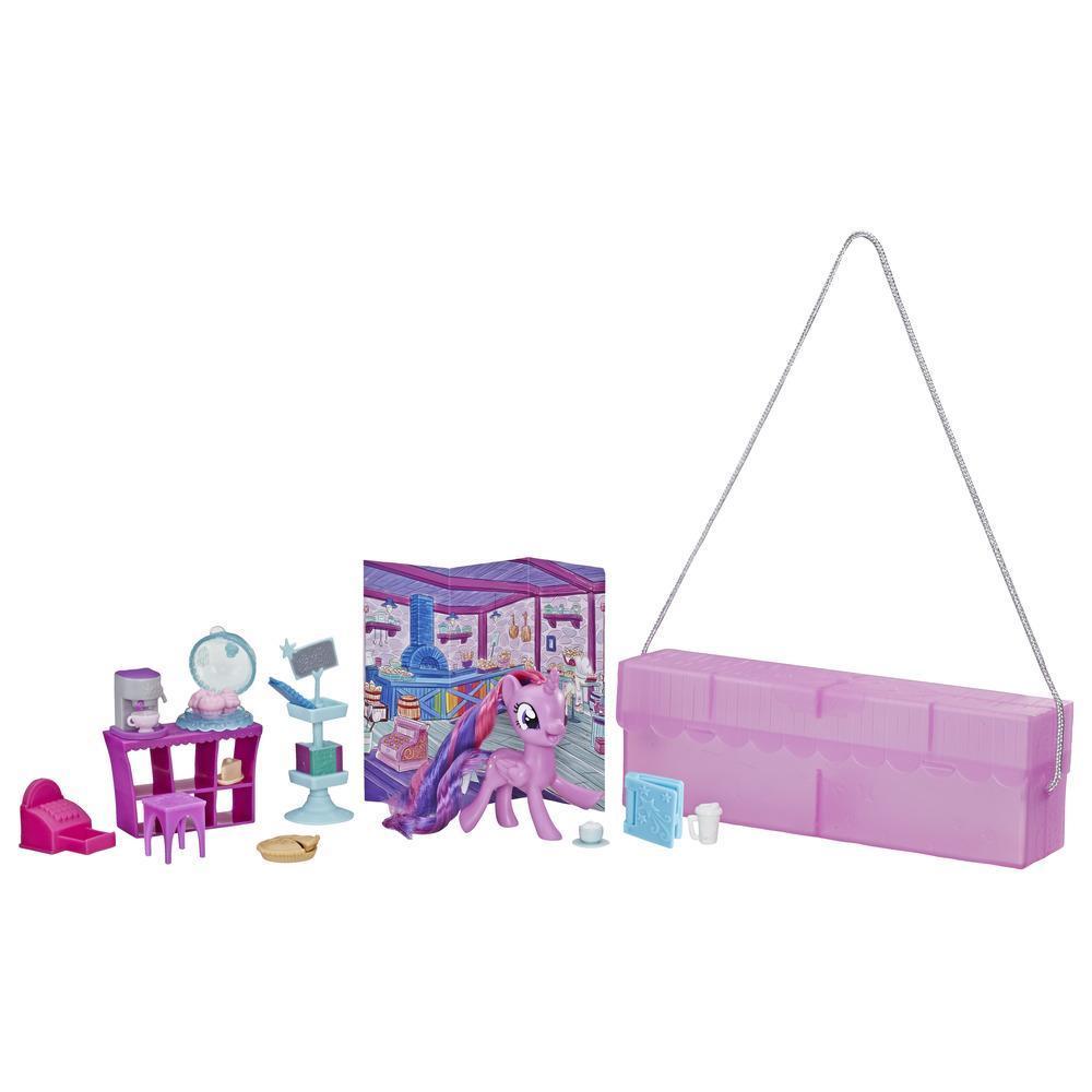 My Little Pony - Twilight Sparkle Para llevar - Pony morado de 7,5 cm con 14 accesorios y estuche para guardar - Edad recomendada: 3 años en adelante