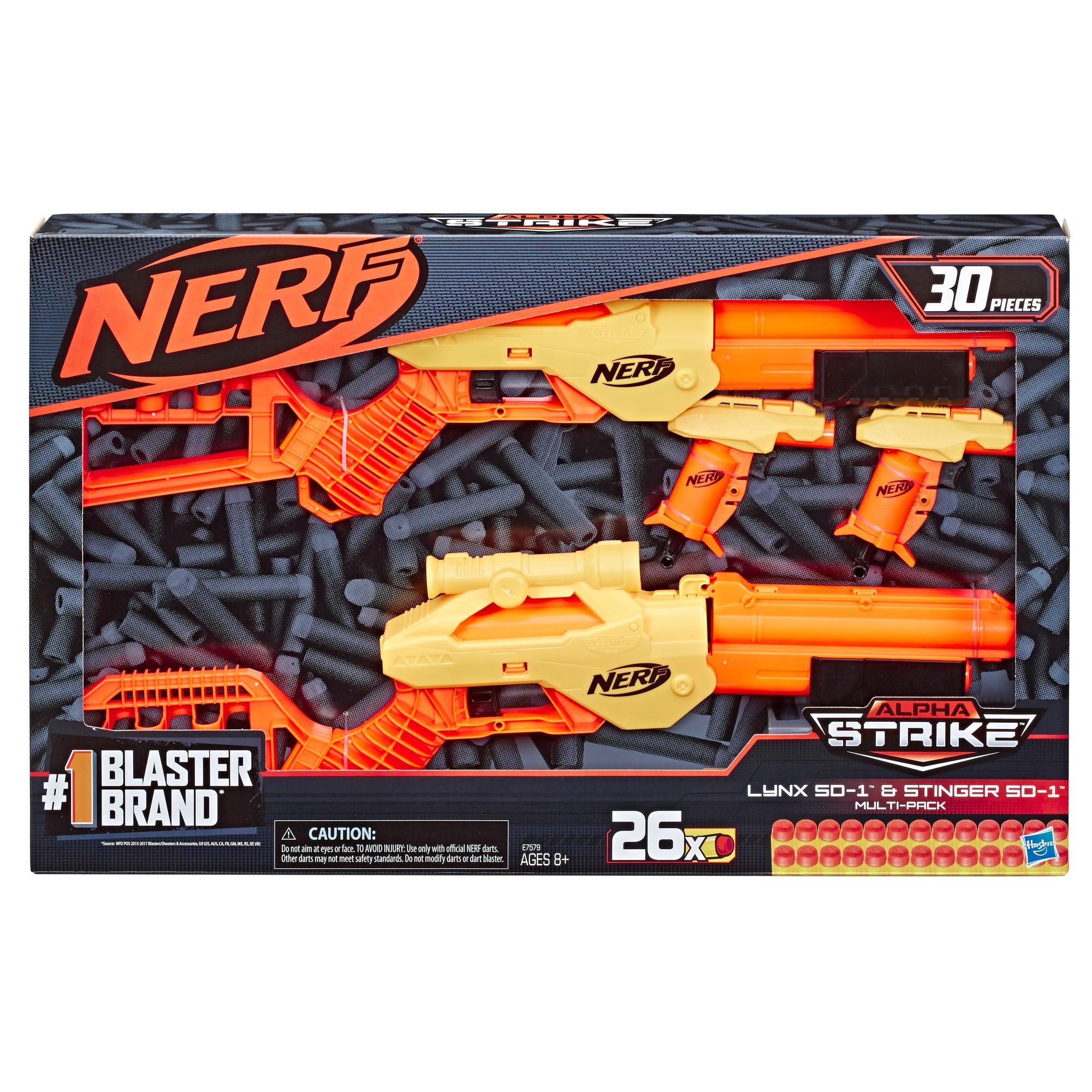 Lynx SD-1 y Stinger SD-1 Multipack. Set Nerf Alpha Strike de 30 piezas, incluye 4 lanzadores y 26 dardos Nerf Elite oficiales. Para niños, adolescentes y adultos
