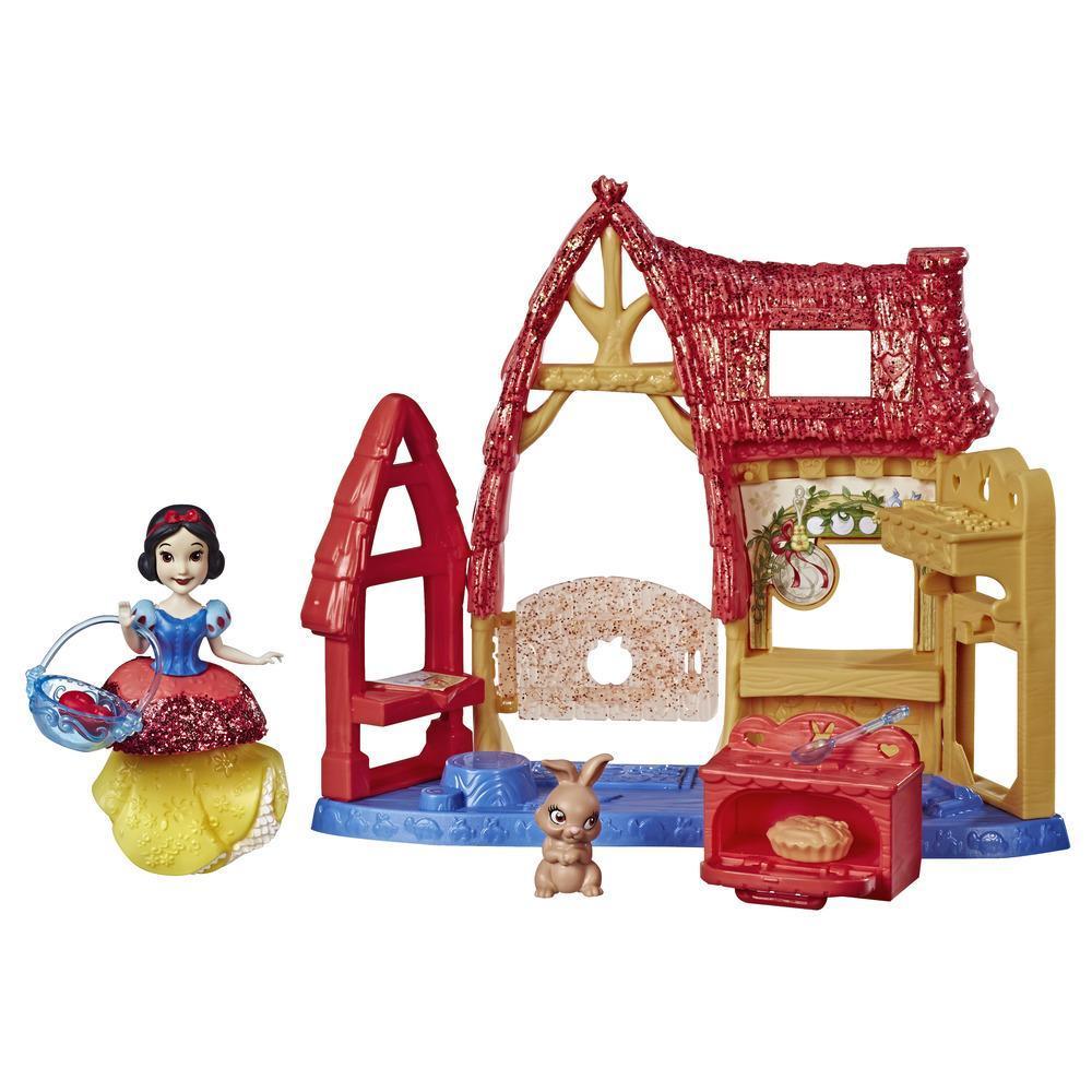 Disney Princess Cocina de la cabaña y muñeca de Blancanieves, moda Traje Real, falda con clip