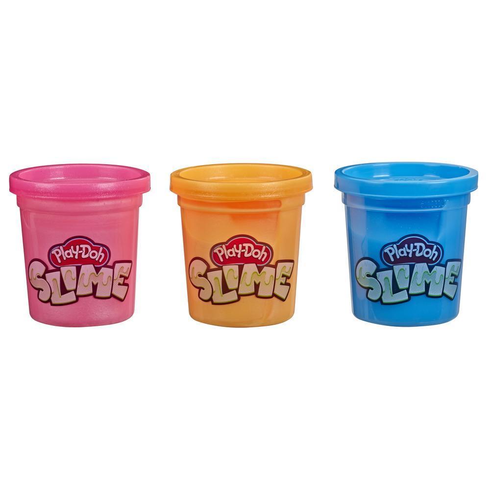 Play-Doh Slime - Trío de latas de masa pegajosa Slime - Azul, naranja metálico y rosa metálico