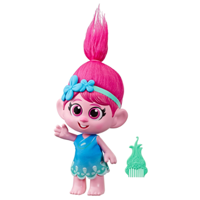 DreamWorks Trolls World Tour - Niña Poppy - Figura de Poppy con vestido removible y peine, inspirada en la película Trolls 2