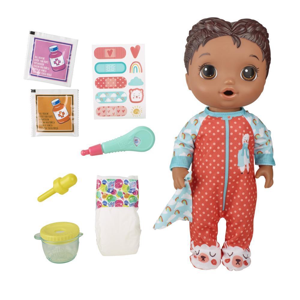 Baby Alive - Bebé Prepara mi medicina - Muñeca que bebe y moja el pañal - Incluye pijama con estampado de llamas y accesorios de médico - Para niños y niñas de 3 años en adelante