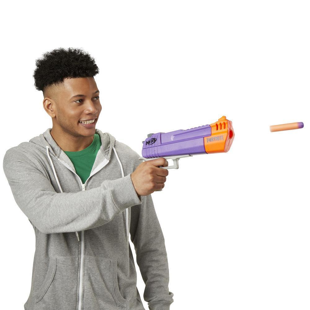 Fortnite Lanzador de Mega dardo HC-E Nerf - Incluye 3 Mega dardos Nerf Fortnite - Para niños, adolescentes y adultos
