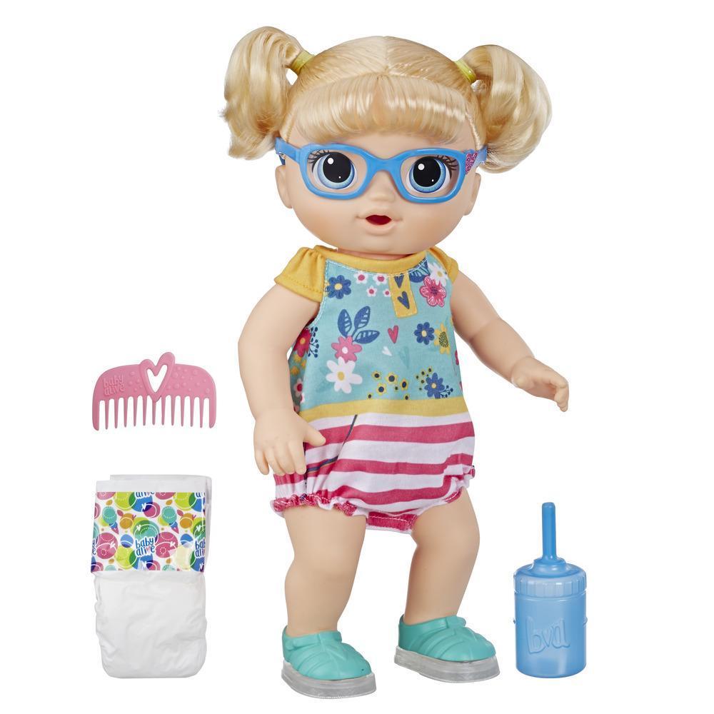 Muñeca Bebé pasos y risas de Baby Alive, con cabello rubio y zapatos que se iluminan, bebe agua y moja el pañal, para niños y niñas de 3 años en adelante