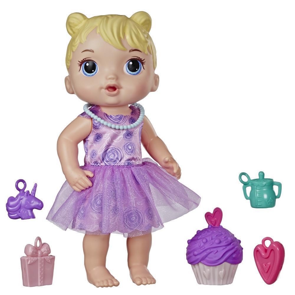 Baby Alive - Bebé Fiesta de regalos - Muñeca de pelo rubio con pastelito de cumpleaños y sorpresas - Juguete para niños y niñas de 3 años en adelante