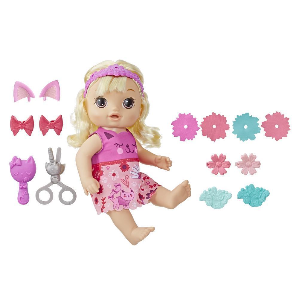 Baby Alive - Bebé peinado mágico - Muñeca con cabello rubio que habla y cuyo flequillo crece y se acorta, para niños y niñas de 3 años en adelante