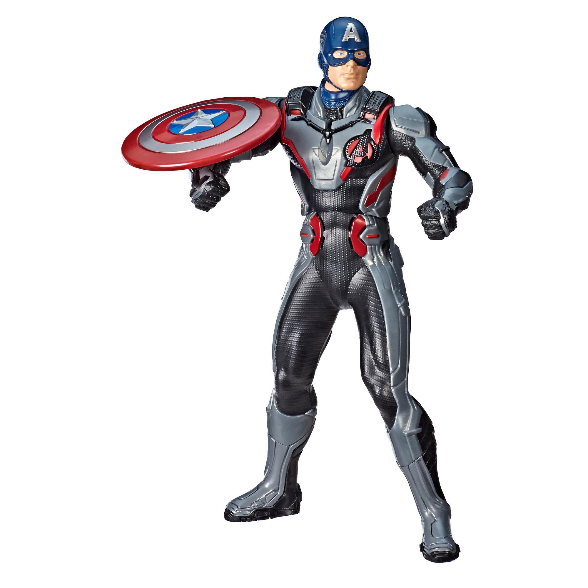 Marvel Avengers - Avengers: Endgame Capitán América Impacto de escudo - Figura de Capitán América de 33 cm con 15+ frases y sonidos