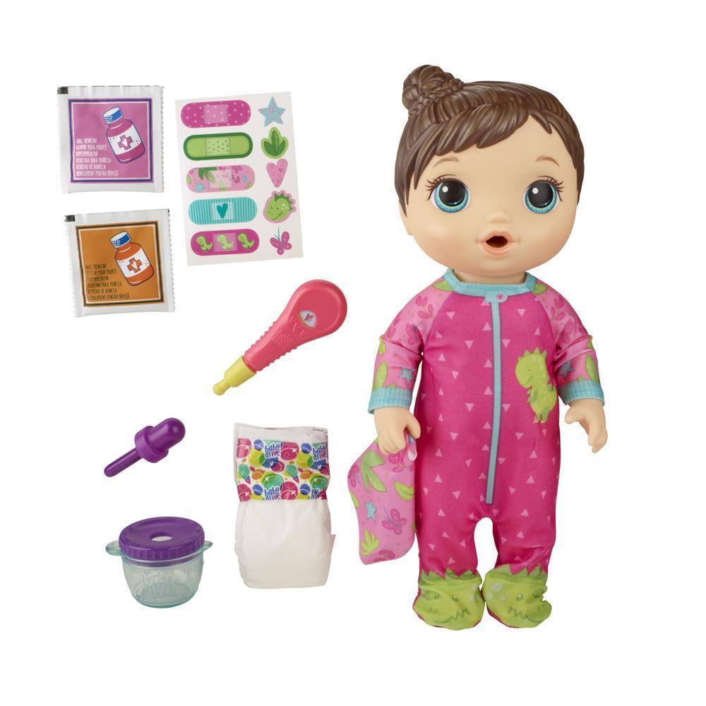Baby Alive - Bebé Prepara mi medicina - Muñeca que bebe y moja el pañal - Incluye pijama con estampado de dinosaurios y accesorios de médico - Edad recomendada: 3+