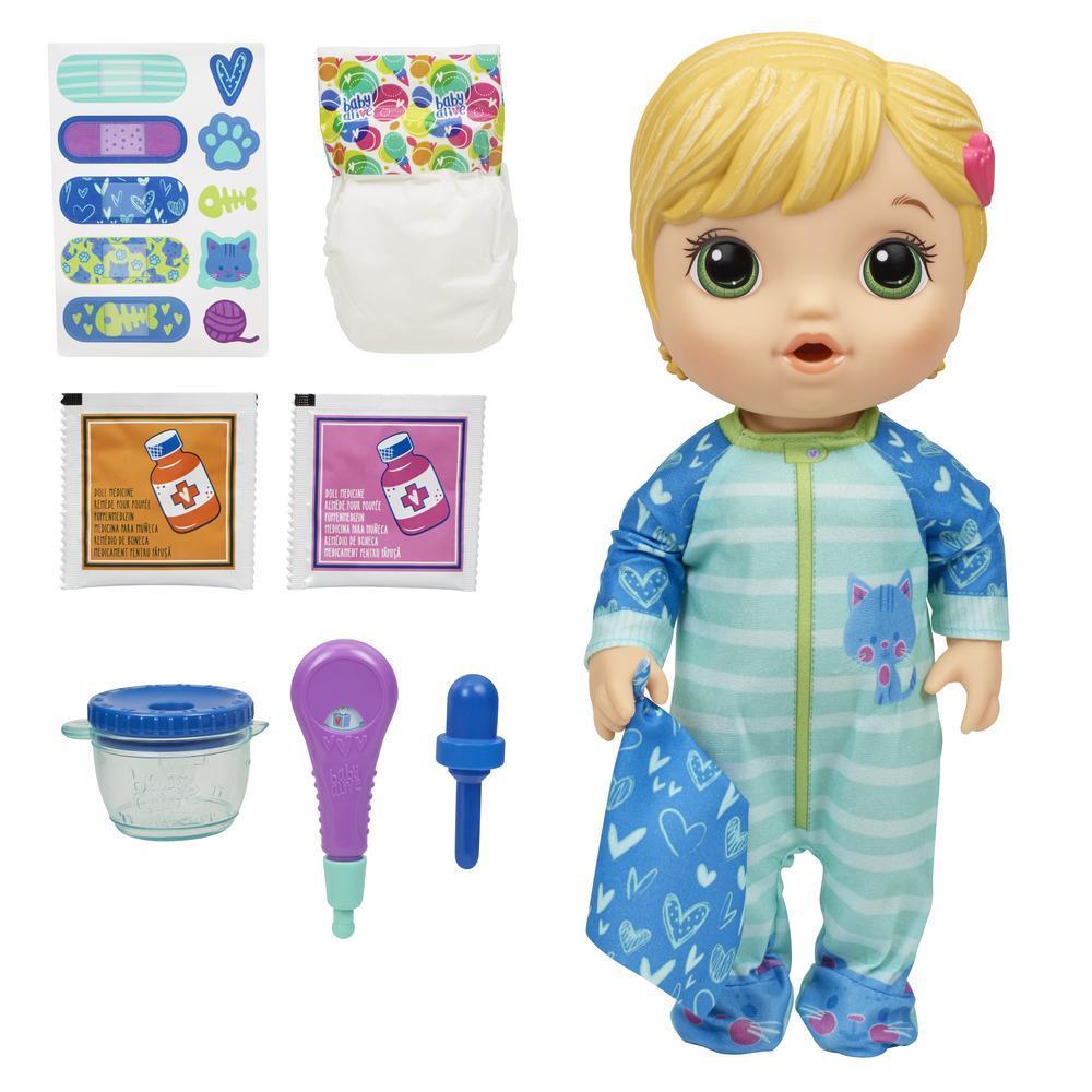 Baby Alive - Bebé Prepara mi medicina - Muñeca que bebe y moja el pañal - Incluye pijama con estampado gatuno y accesorios de médico - Edad recomendada: 3+