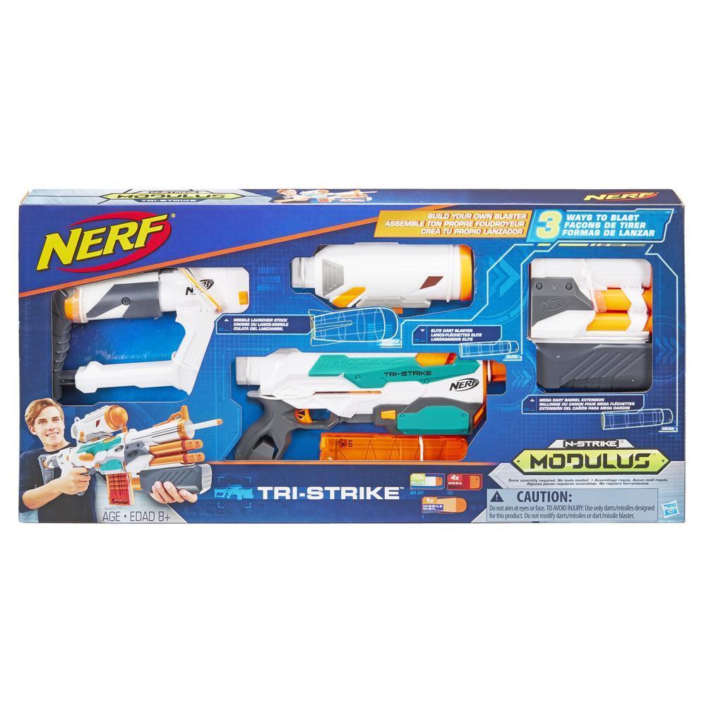 Lanzador Nerf Modulus Tri-Strike - Cañón Mega - Lanzacohetes - Clip, 10 dardos Nerf Elite, 4 dardos Mega, 1 cohete