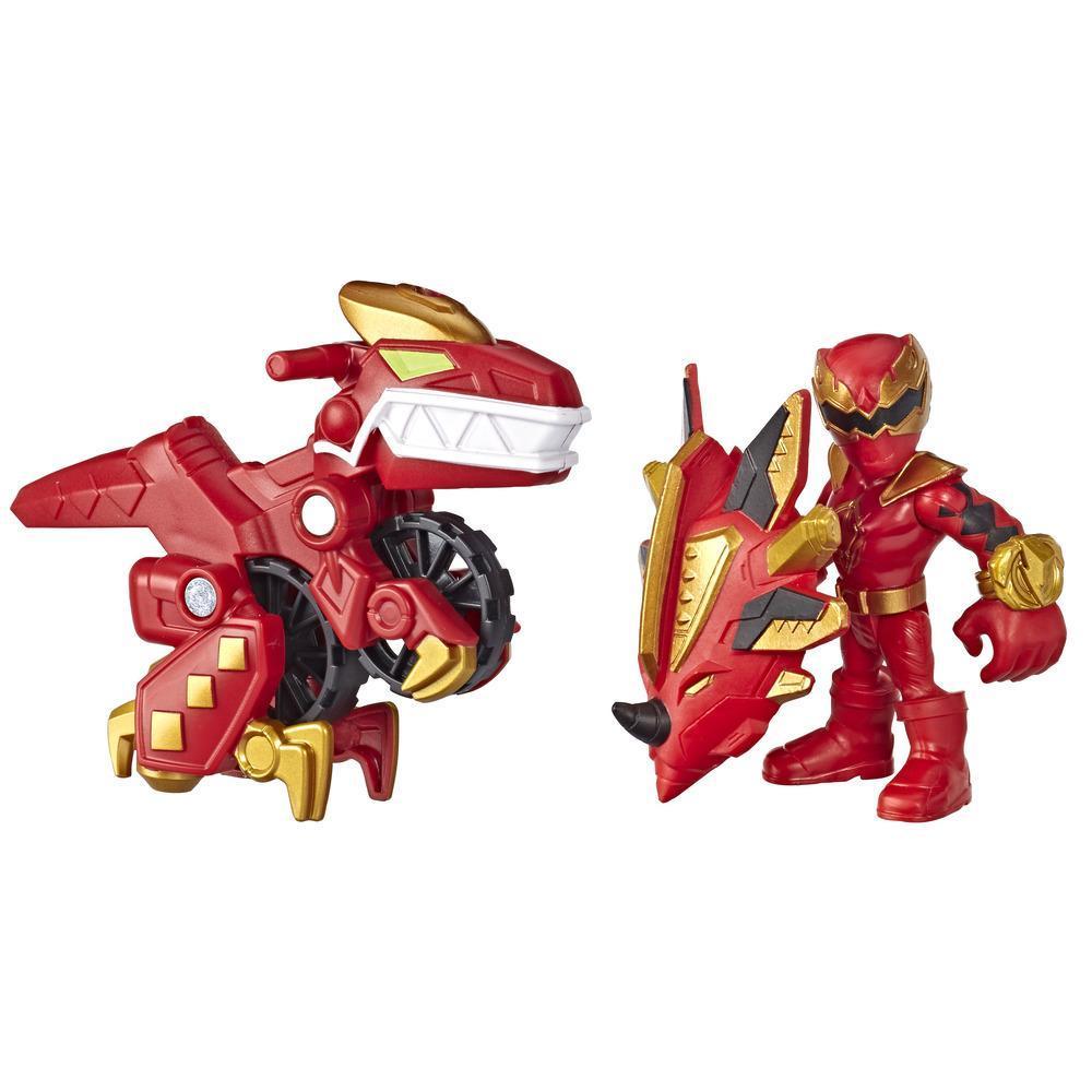 Playskool Heroes Power Rangers Empaque doble -  Red Ranger y Raptor Cycle - Figuras de acción de 7,5 cm - juguetes para niños de 3 años en adelante