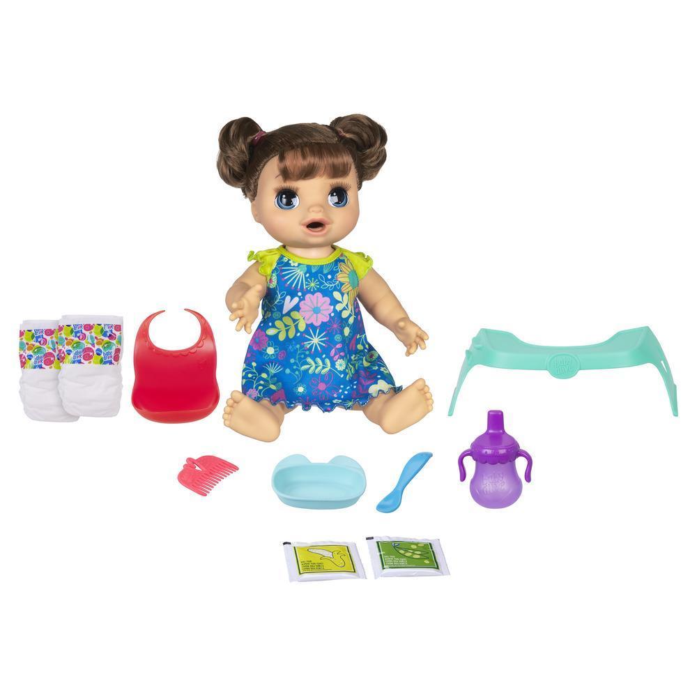 Baby Alive - Muñeca Bebé Come feliz con cabello rizado de color castaño