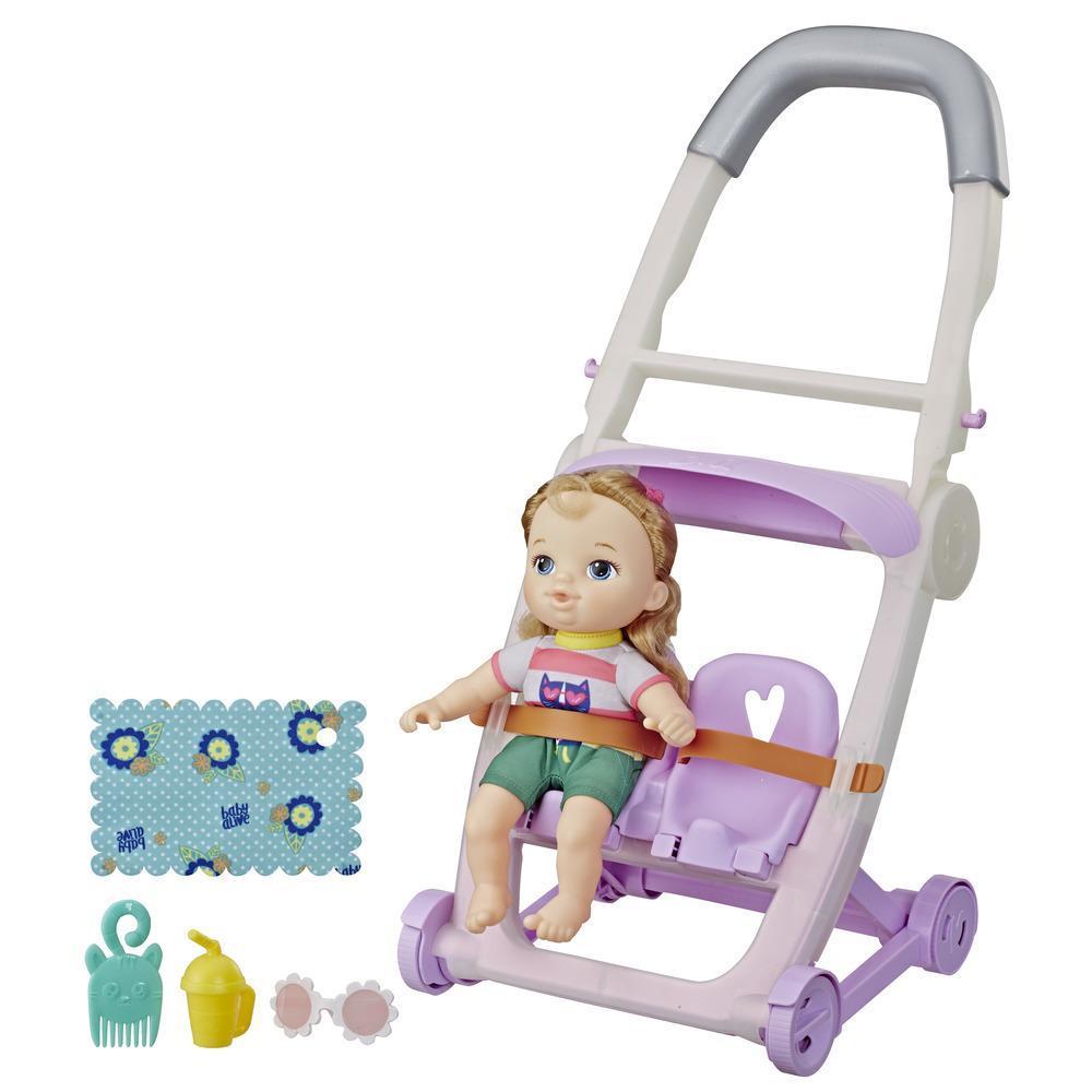 Littles by Baby Alive - Coche de bebé, muñeca de la pequeña Ana, de cabello rubio y con piernas que se mueven - Juguete para niños y niñas de 3 años en adelante