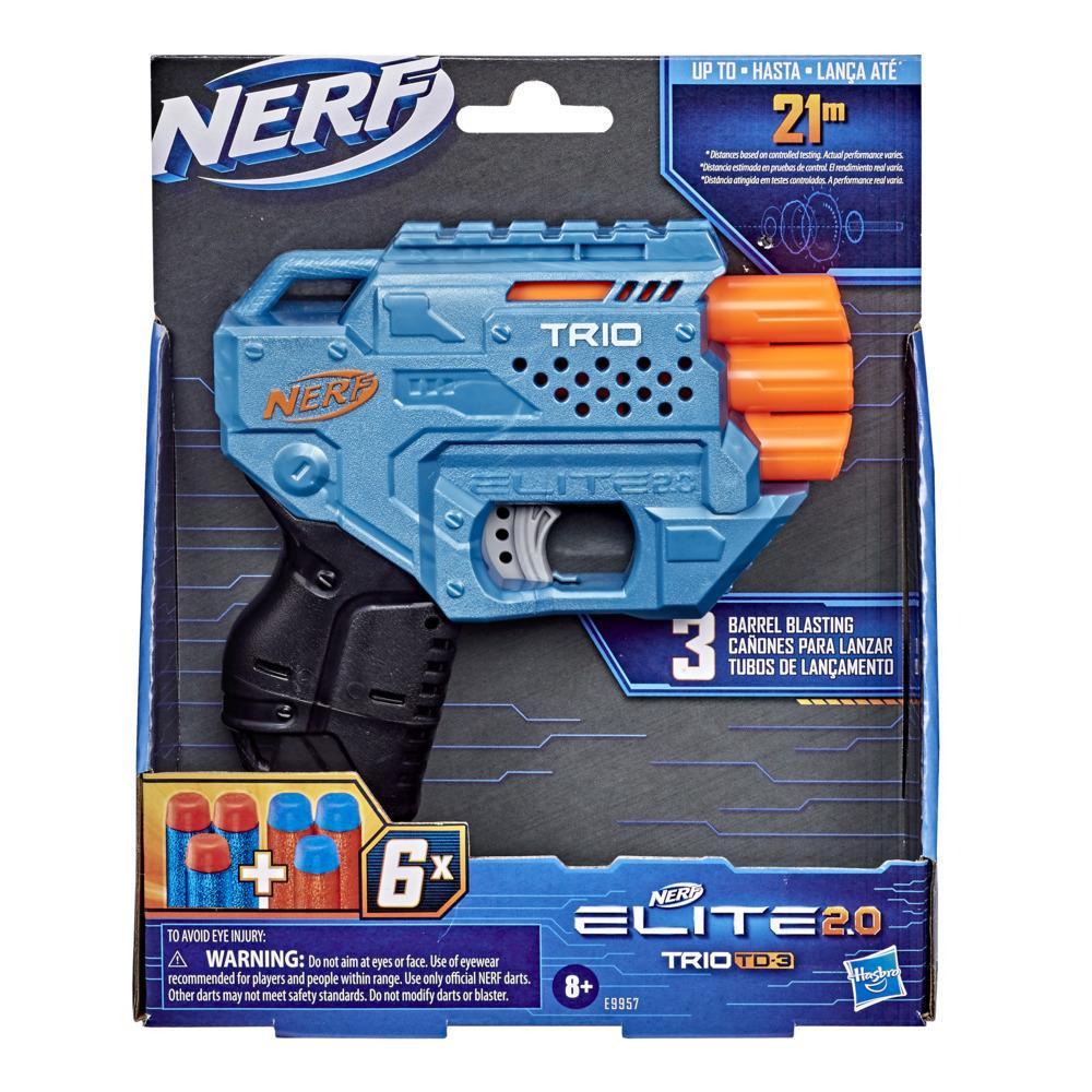 Lanzador Nerf Elite 2.0 Trio TD-3 - Incluye 6 dardos Nerf oficiales - 3 cañones - riel táctico para personalizar
