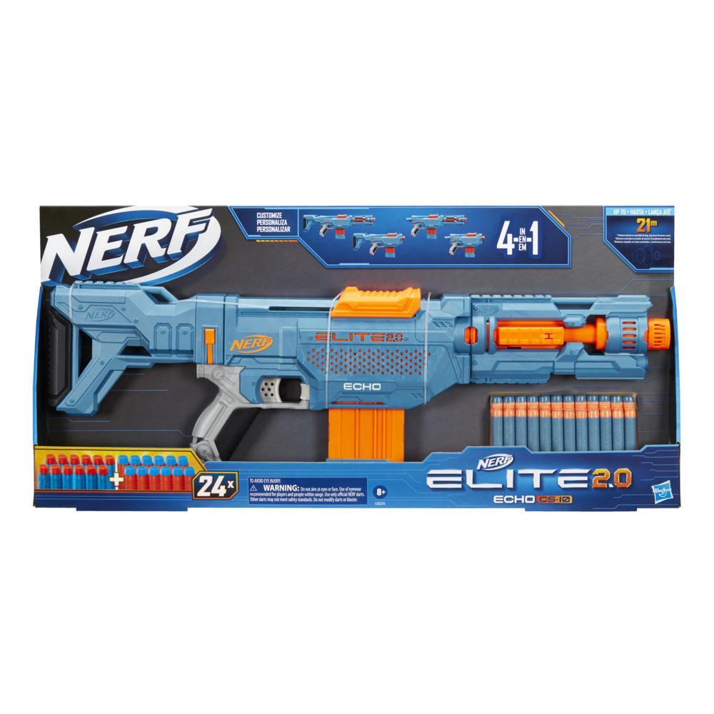 Lanzador Nerf Elite 2.0 Echo CS-10 - 24 dardos Nerf, clip de 10 dardos, culata y extensión del cañón, 4 rieles tácticos