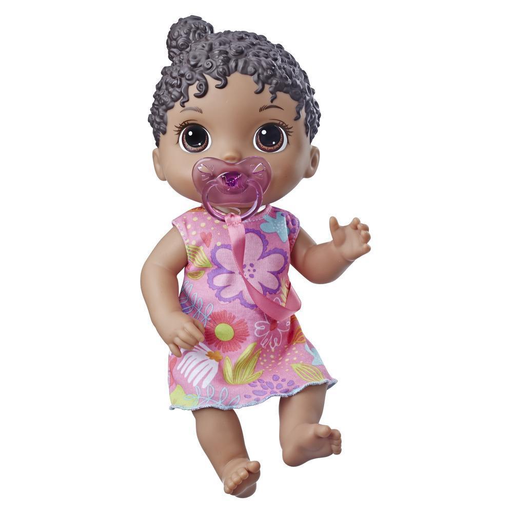 Baby Alive Bebé Soniditos: Muñeca bebé interactiva con pelo negro, para niñas y niños de 3 años en adelante, 10 efectos de sonido, incluyendo risas y llanto - Muñeca bebé con chupón