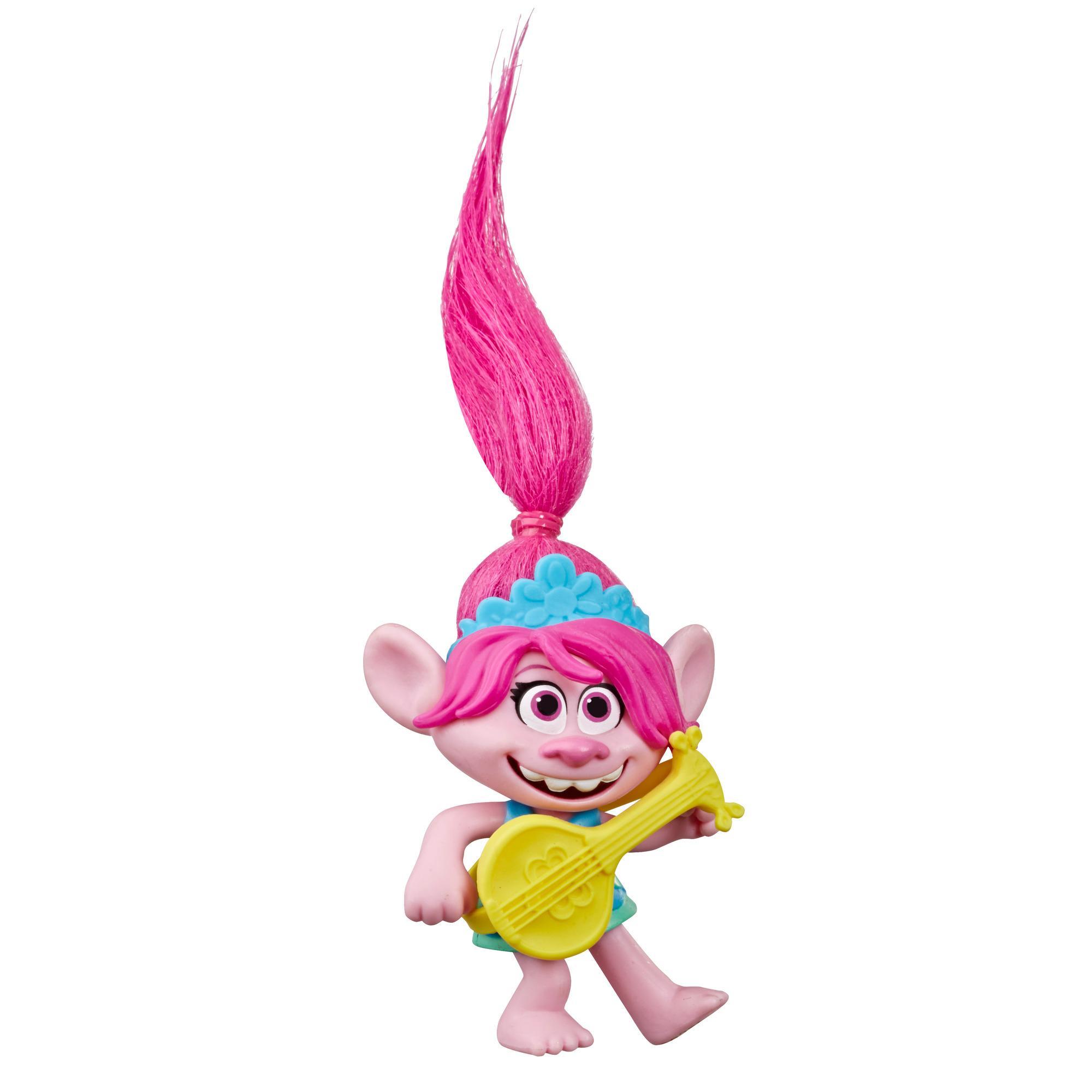DreamWorks Trolls World Tour - Poppy - Figura de Poppy con ukulele - Juguete inspirado en la película Trolls 2