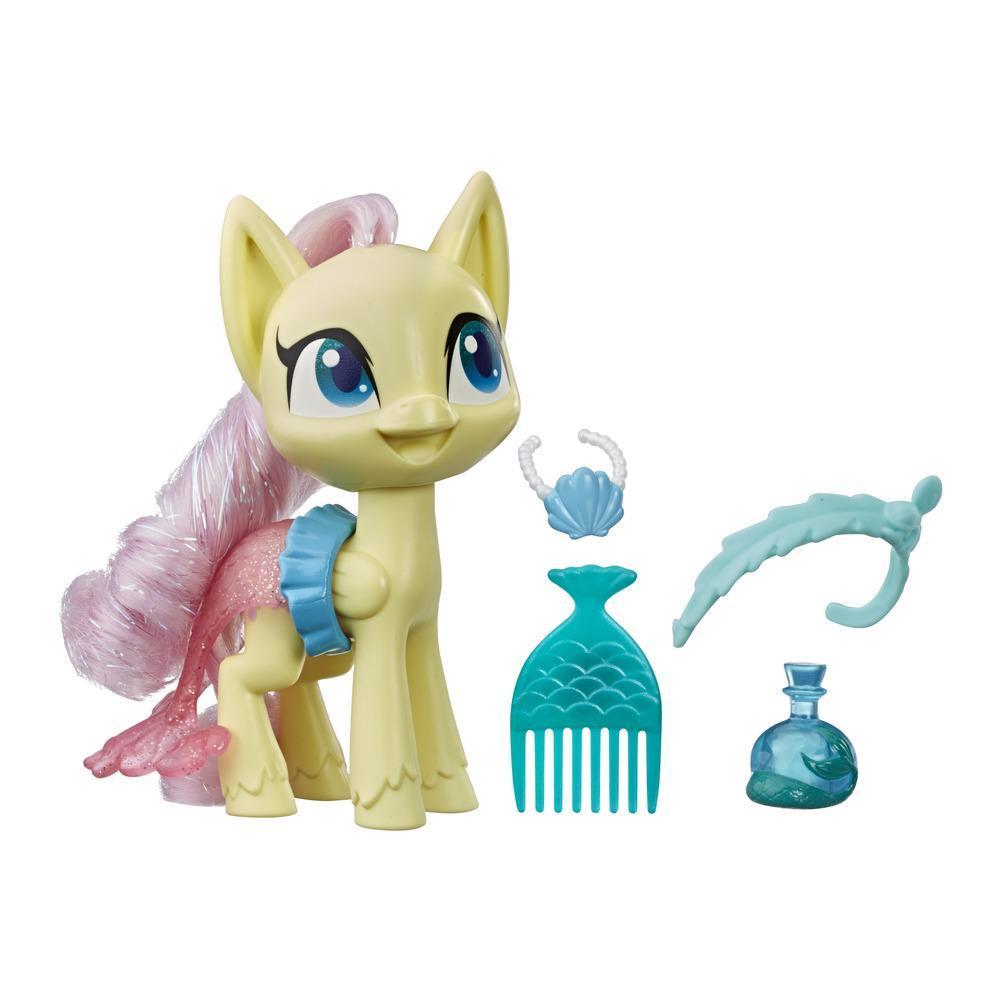My Little Pony - Fluttershy Poción de estilo - Figura de 12,5 cm de pony amarilla con accesorios, cabello para peinar