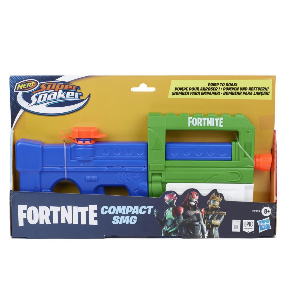Lanzador de agua Nerf Super Soaker Fortnite Compact SMG - Lanzador por bombeo - Para niños, adolescentes y adultos