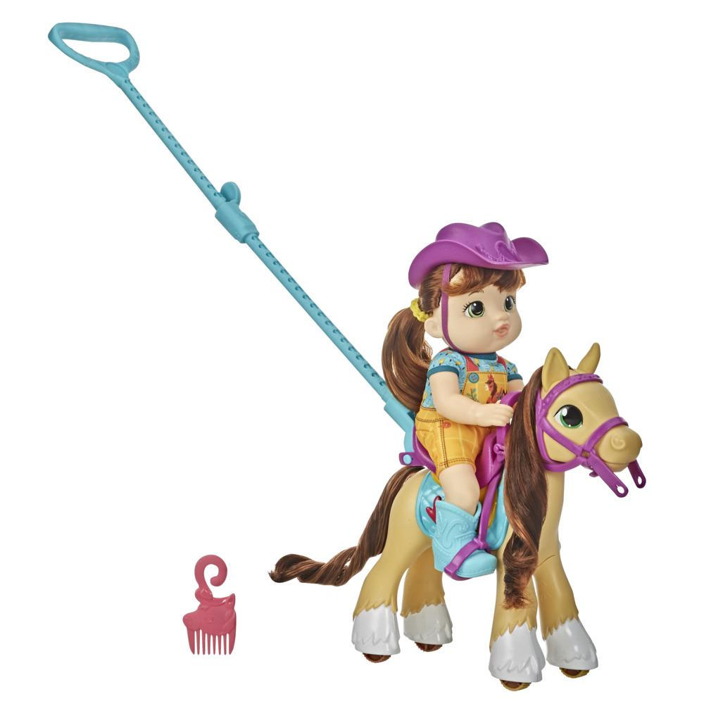 Littles by Baby Alive - Paseo en pony - Muñeca de la pequeña Mandy, pony de juguete con guía para empujar, para niños y niñas de 3 años en adelante