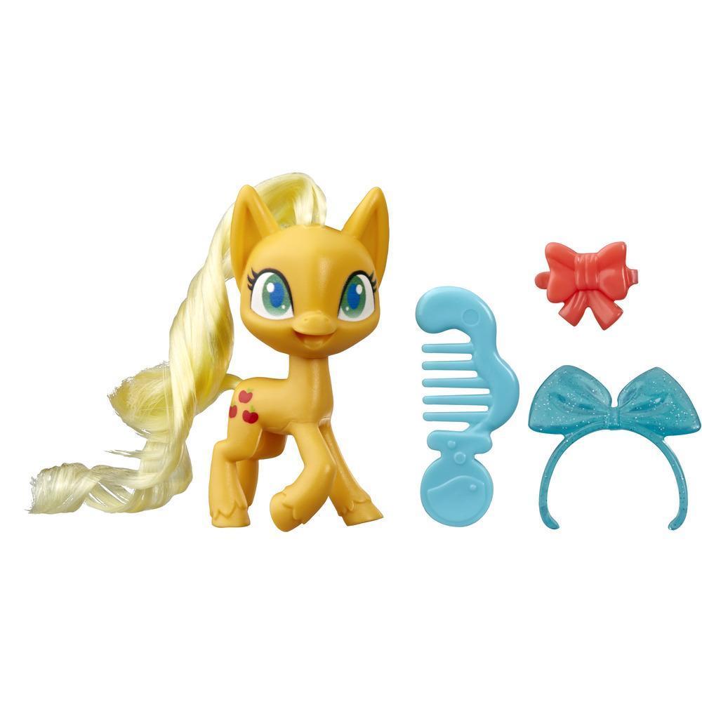 My Little Pony - Pony Applejack en poción mágica - Pony naranja de 7,5 cm con cabello para cepillar, peine y accesorios