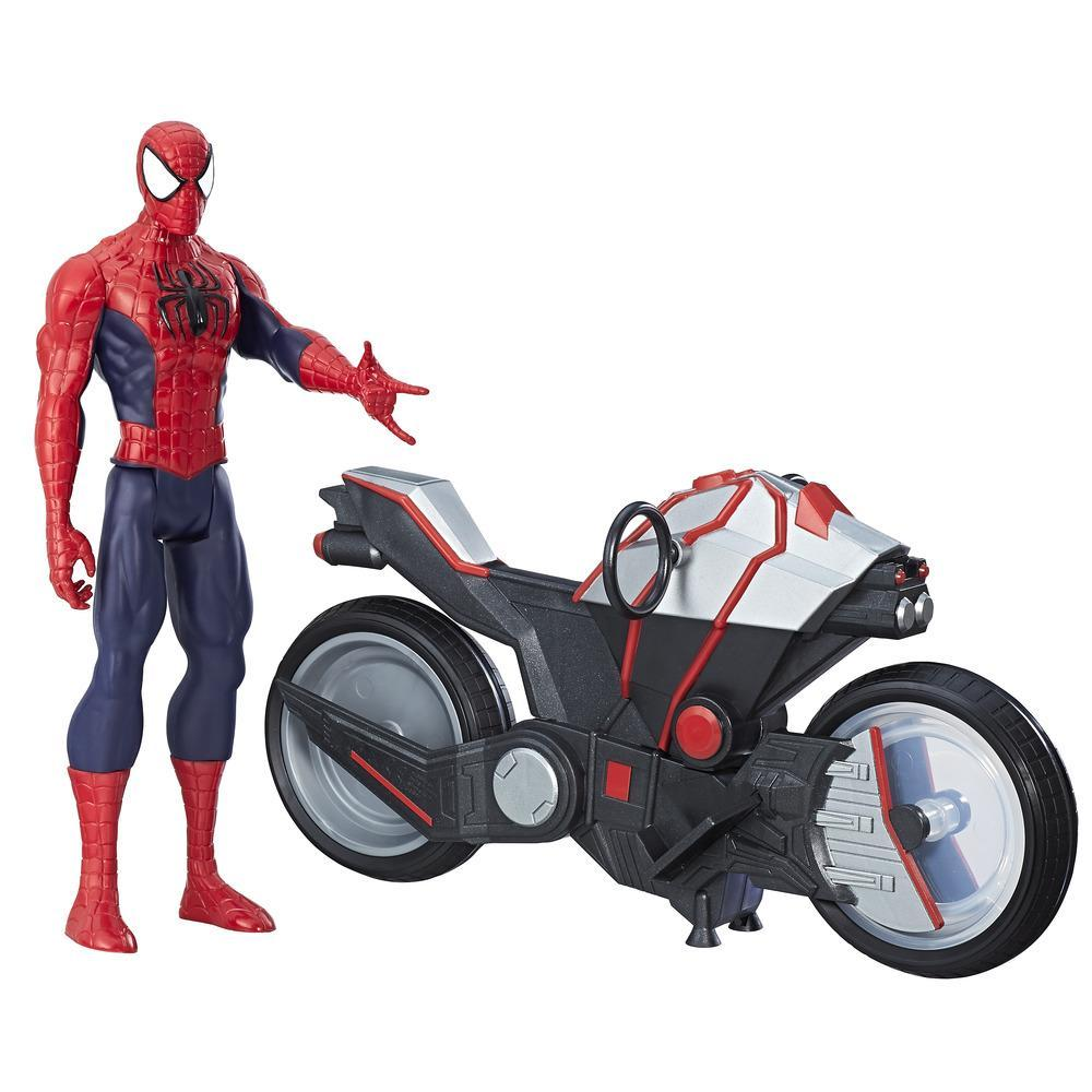 Marvel Spider-Man - Titan Hero Series - Figura de Spider-Man con Aracnomoto
