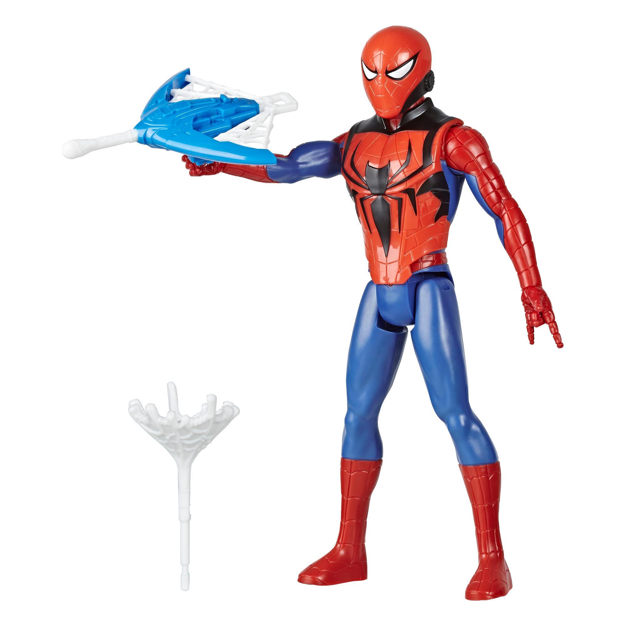 Marvel Spider-Man Titan Hero Series Blast Gear - Figura de Spider-Man de 30 cm - Con lanzador y proyectiles - Edad: 4+