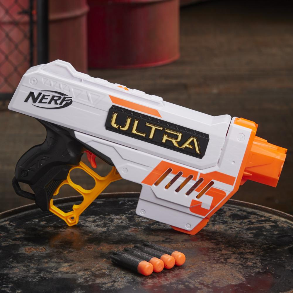 Lanzador Nerf Ultra Five - Clip de 4 dardos - 4 dardos Nerf Ultra - Portadardos - Compatible solo con dardos Nerf Ultra