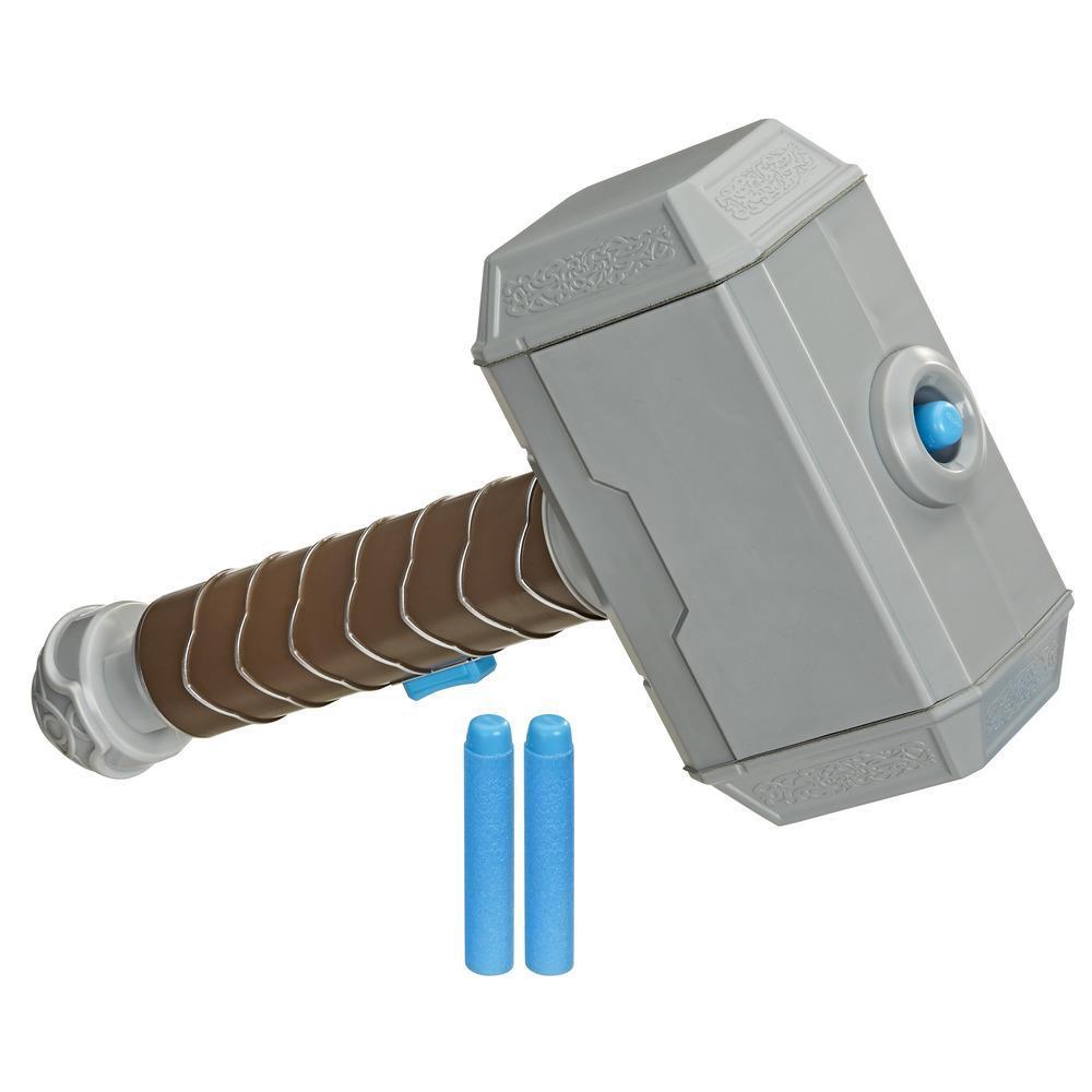 NERF Power Moves Marvel Avengers, Golpe de martillo de Thor, juguete lanzadardos NERF para juego de rol infantil, para niños de 5 años en adelante