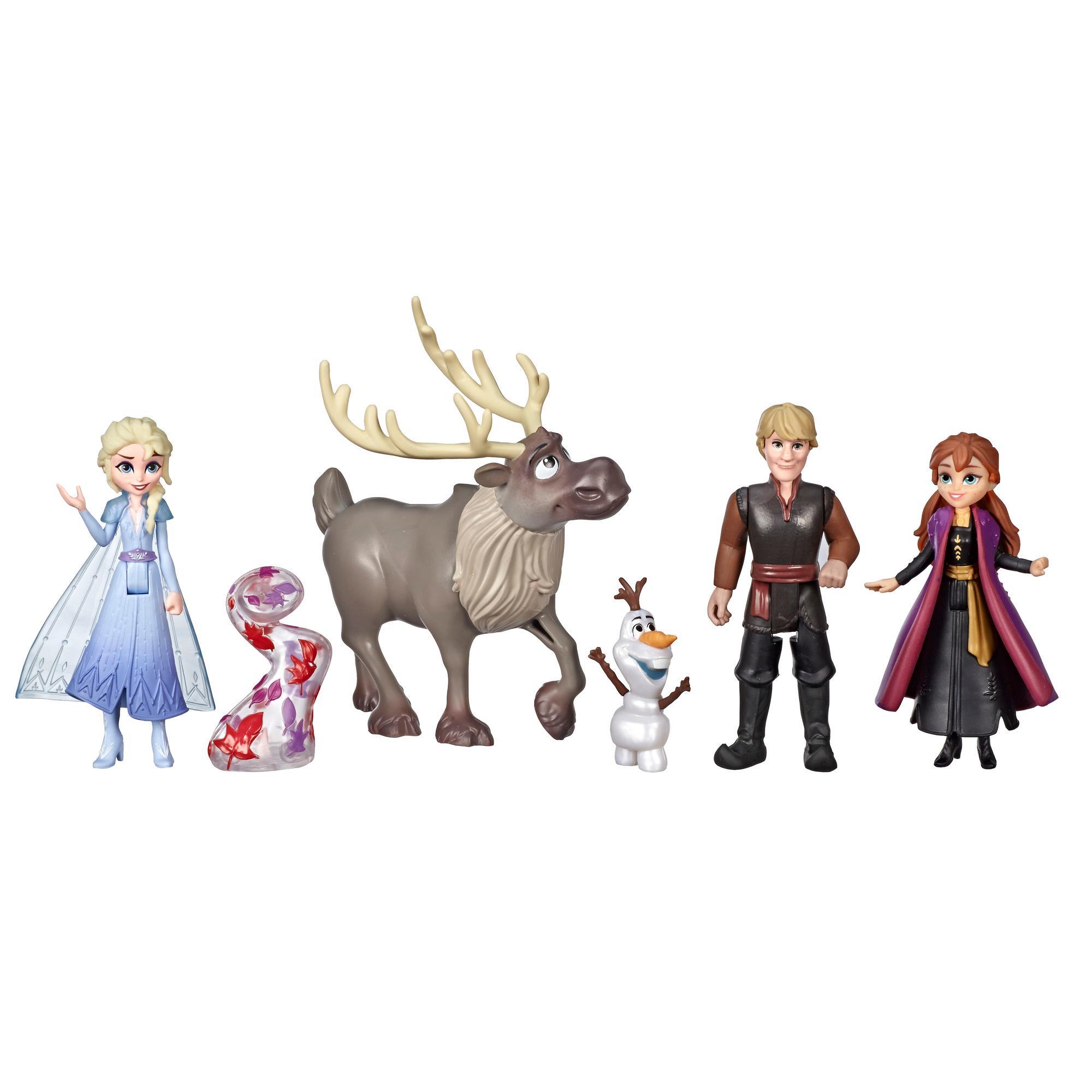 Disney Frozen Colección de aventura, 5 figuras de Frozen II, Anna, Elsa, Kristoff, Sven, Olaf y accesorio de espíritu de viento