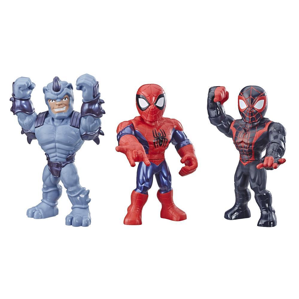 Playskool Heroes Mega Mighties Marvel Super Hero Adventures - Empaque Aracno-guerreros - Spider-Man, Kid Arachnid, Marvel's Rhino