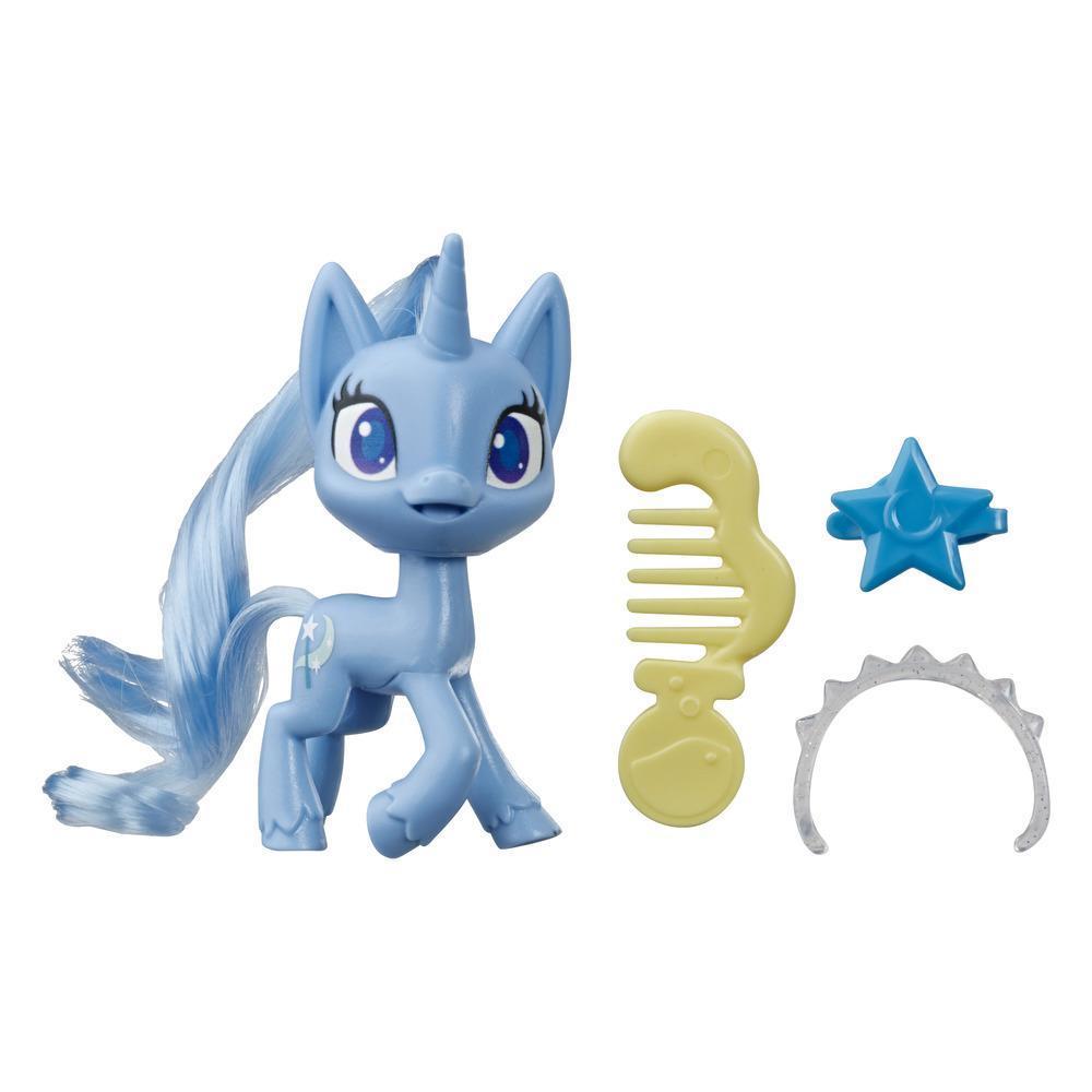My Little Pony - Trixie Lulamoon en poción mágica - Pony azul de 7,5 cm con cabello para cepillar, peine y accesorios