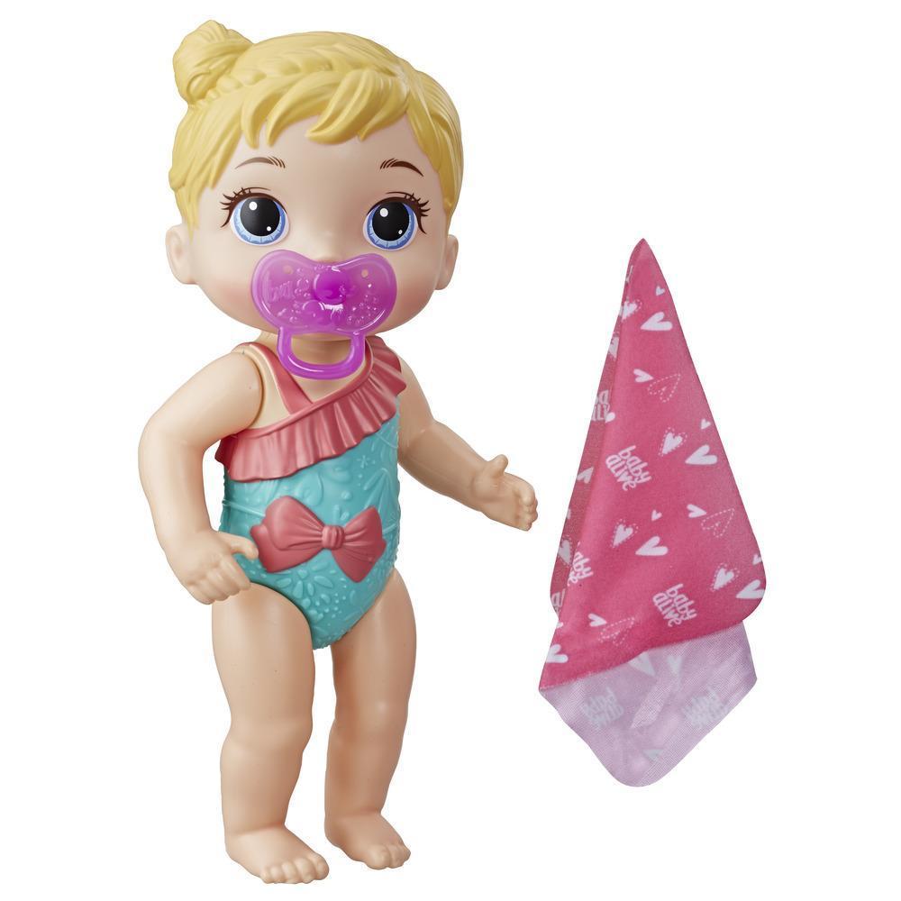 Baby Alive Bebé Chapoteos y abrazos - Muñeca con cabello castaño para juego acuático - Con accesorios, juguete para niños y niñas de 3 años en adelante