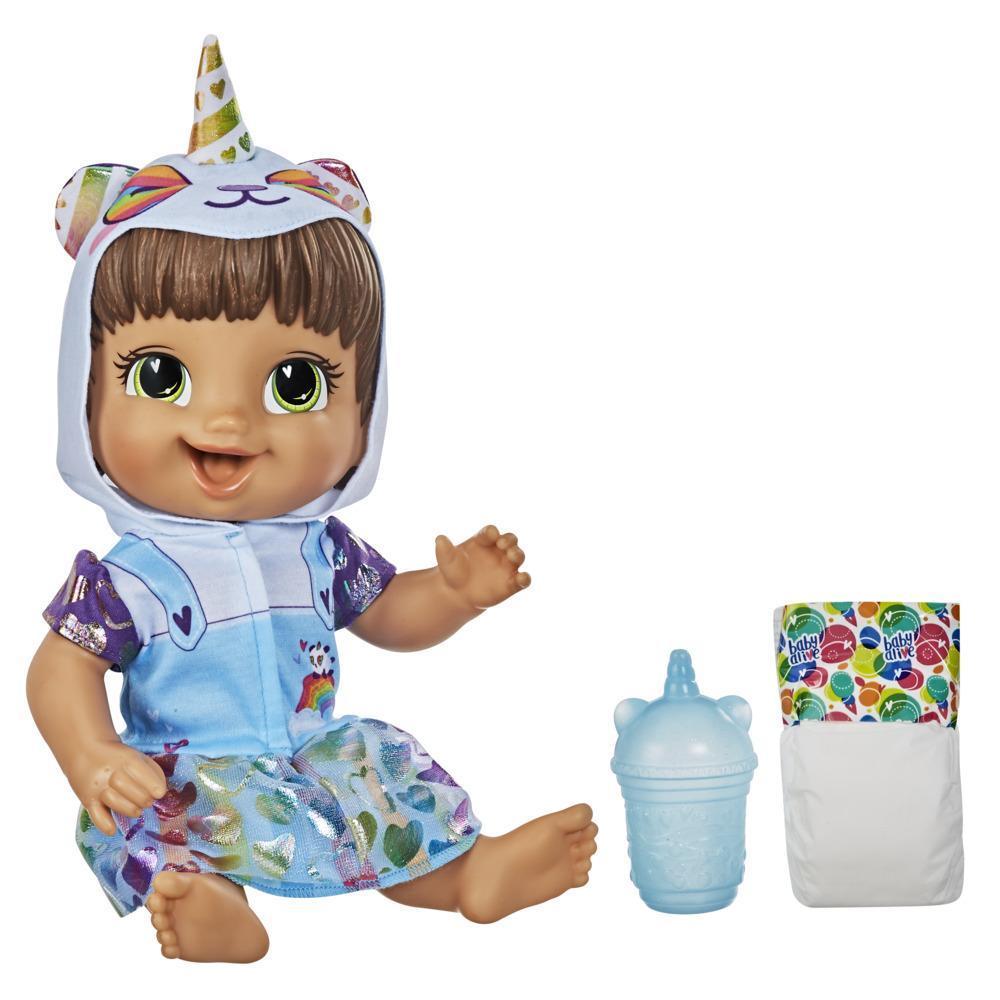 Baby Alive - Muñeca Minicornio panda - Con accesorios y bebidas - Muñeca de cabello castaño que moja el pañal para niños y niñas de 3 años en adelante