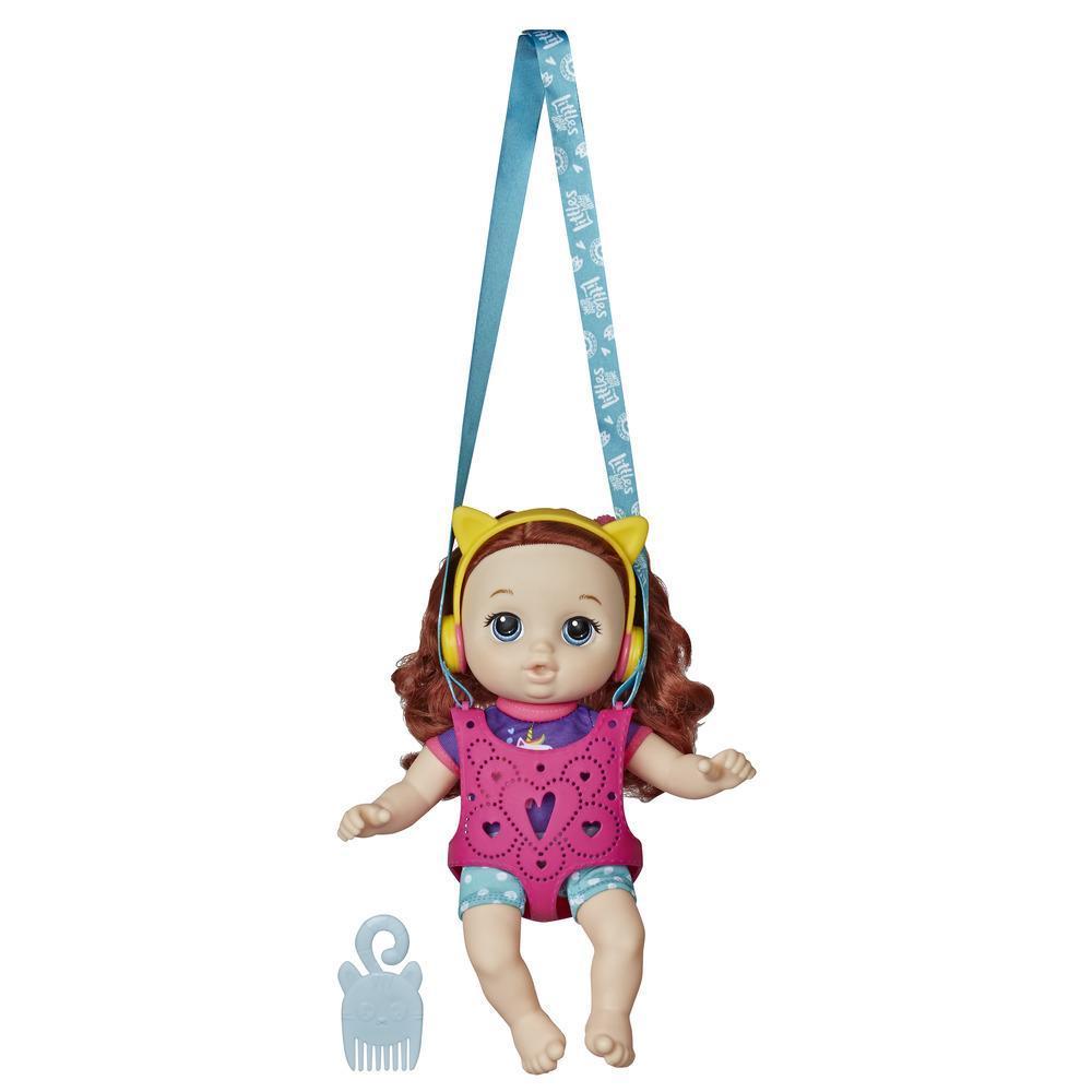 Littles by Baby Alive - Equipo de aventuras: Little Zoe, muñeca con cabello rojo, y portabebé - Juguete para niños y niñas de 3 años en adelante