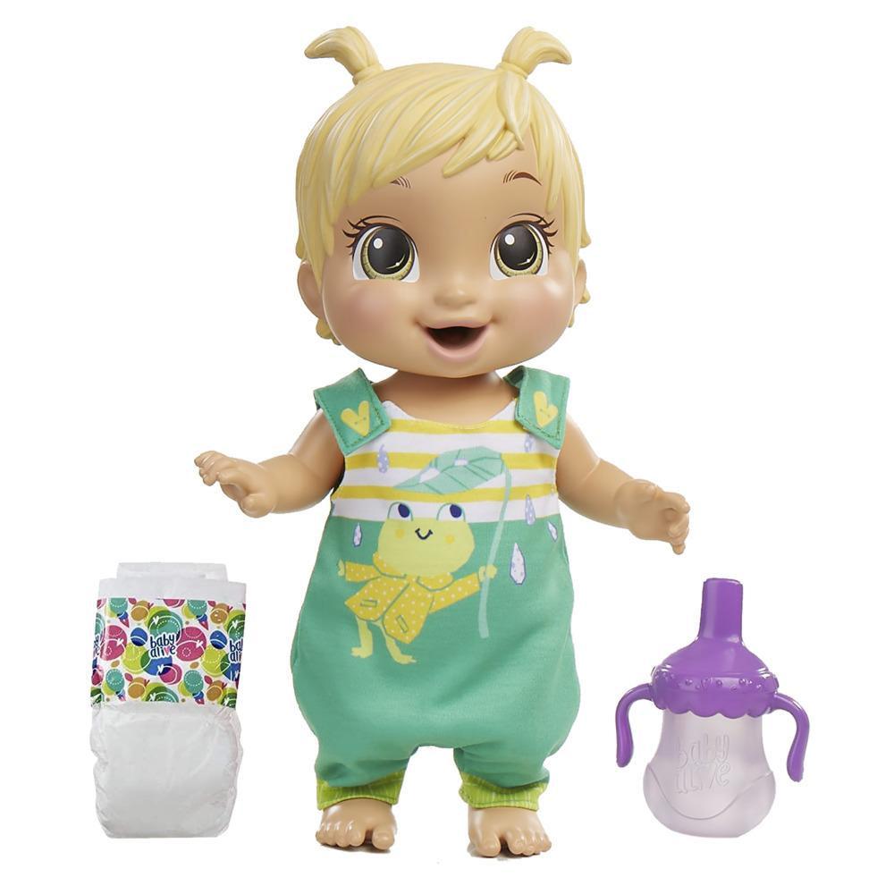 Baby Alive - Bebé saltitos y risitas - Ropa con estampado de rana - Da saltitos, tiene 25+ efectos de sonido, toma agua, moja el pañal, pelo rubio - Edad: 3+