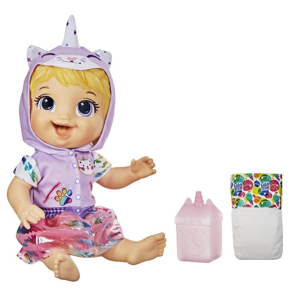 Baby Alive - Muñeca Minicornio felino- Con accesorios y bebidas - Muñeca de cabello rubio que moja el pañal para niños y niñas de 3 años en adelante