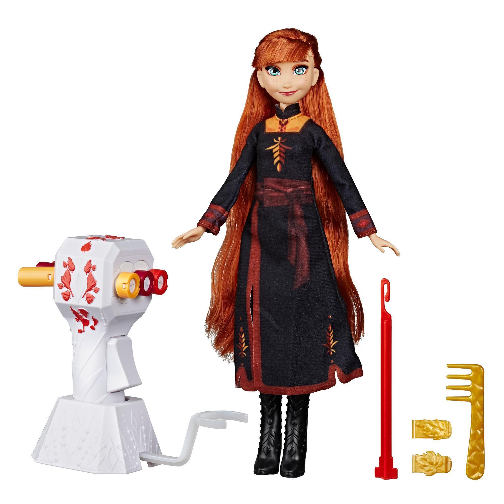 Disney Frozen - Anna Trenzamanía - Muñeca con cabello rojo y extralargo, trenzador y broches para el cabello - Juguete para niños y niñas de 5 años en adelante