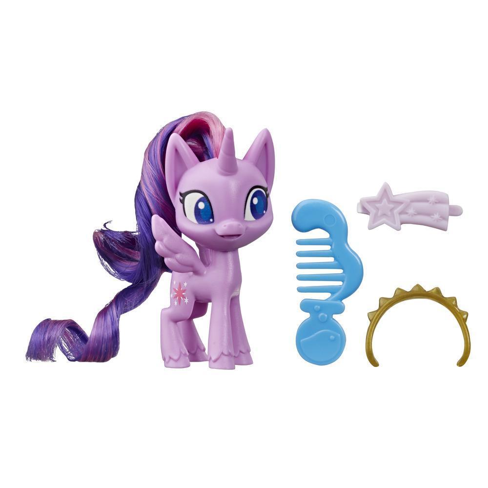 My Little Pony - Pony Twilight Sparkle en poción mágica - Pony púrpura de 7,5 cm con cabello para cepillar, peine y accesorios