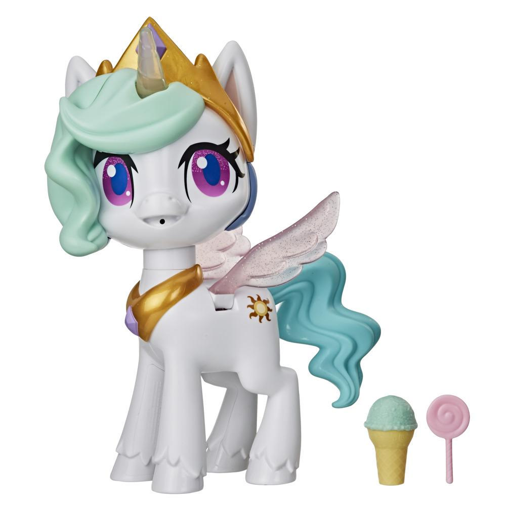 My Little Pony - Princesa Celestia: Unicornio Besitos - Juguete interactivo con 3 accesorios sorpresa, luces, movimiento