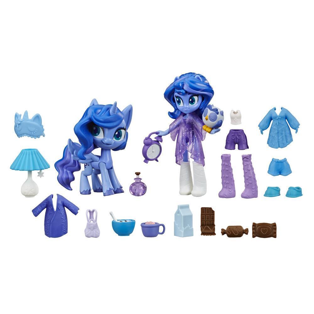 My Little Pony Equestria Girls - Princesa Luna: princesa mágica - Minimuñeca de 7,5 cm, pony y 20 accesorios