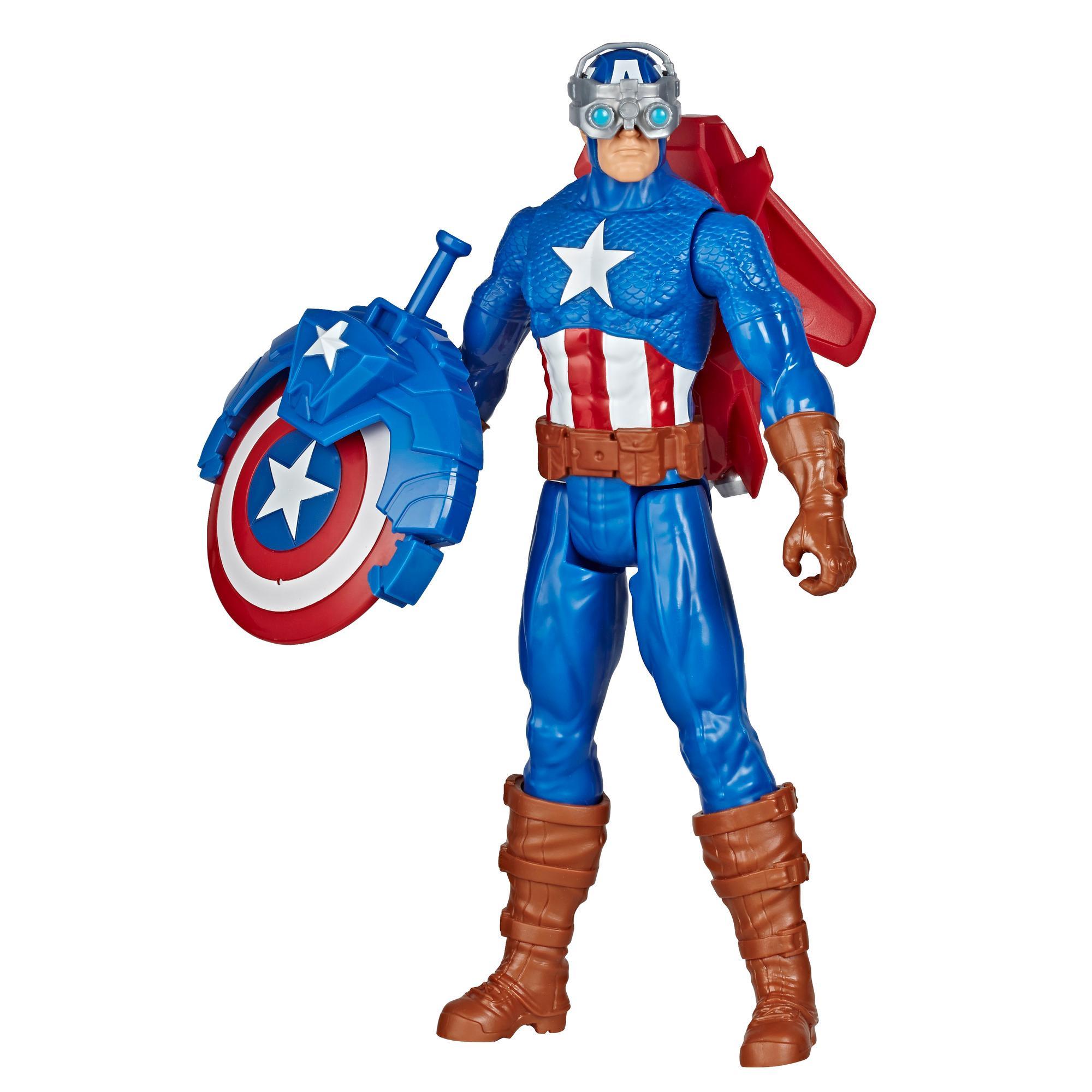 Marvel Avengers Titan Hero Series Blast Gear - Figura del Capitán América con lanzador, 2 accesorios y proyectil - Edad: 4+