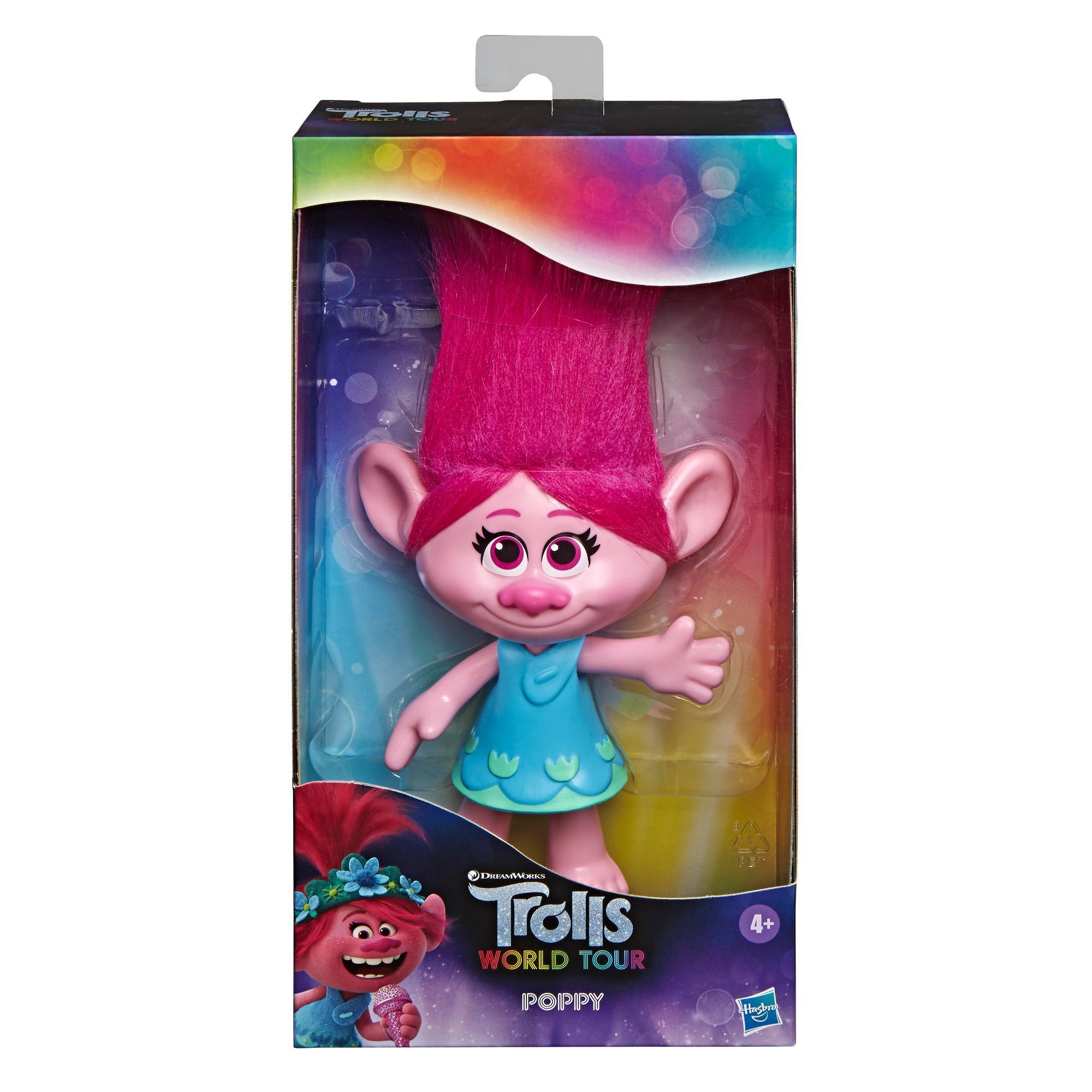 DreamWorks Trolls - Figura de Poppy con vestido removible, inspirada en la película Trolls: World Tour - Juguete para niños y niñas de 4 años en adelante