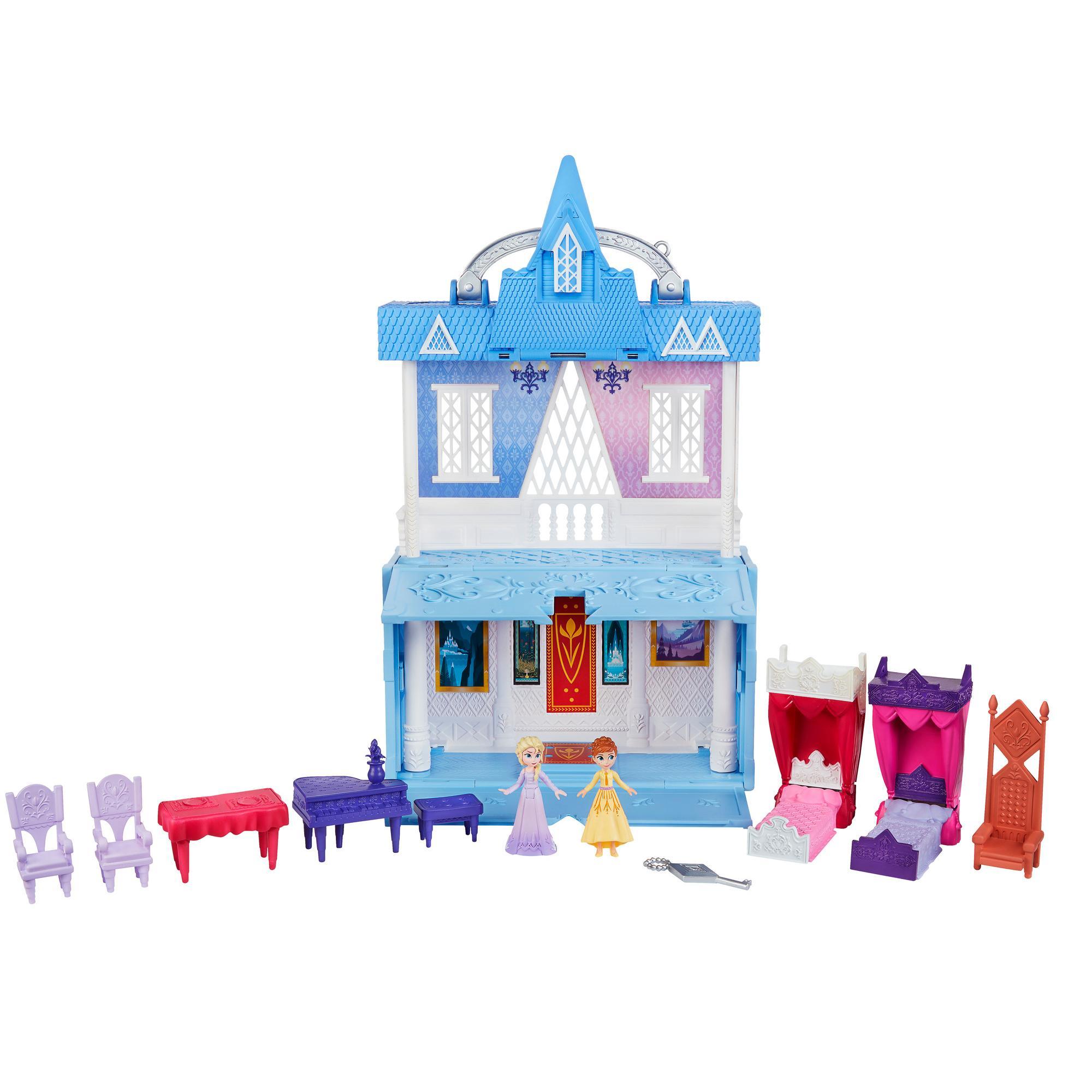 Disney Frozen Aventuras Pop - Castillo de Arendelle - Playset con asidero que incluye las muñecas de Elsa y Anna y 7 accesorios - Juguete para niñas y niños de 3 años en adelante