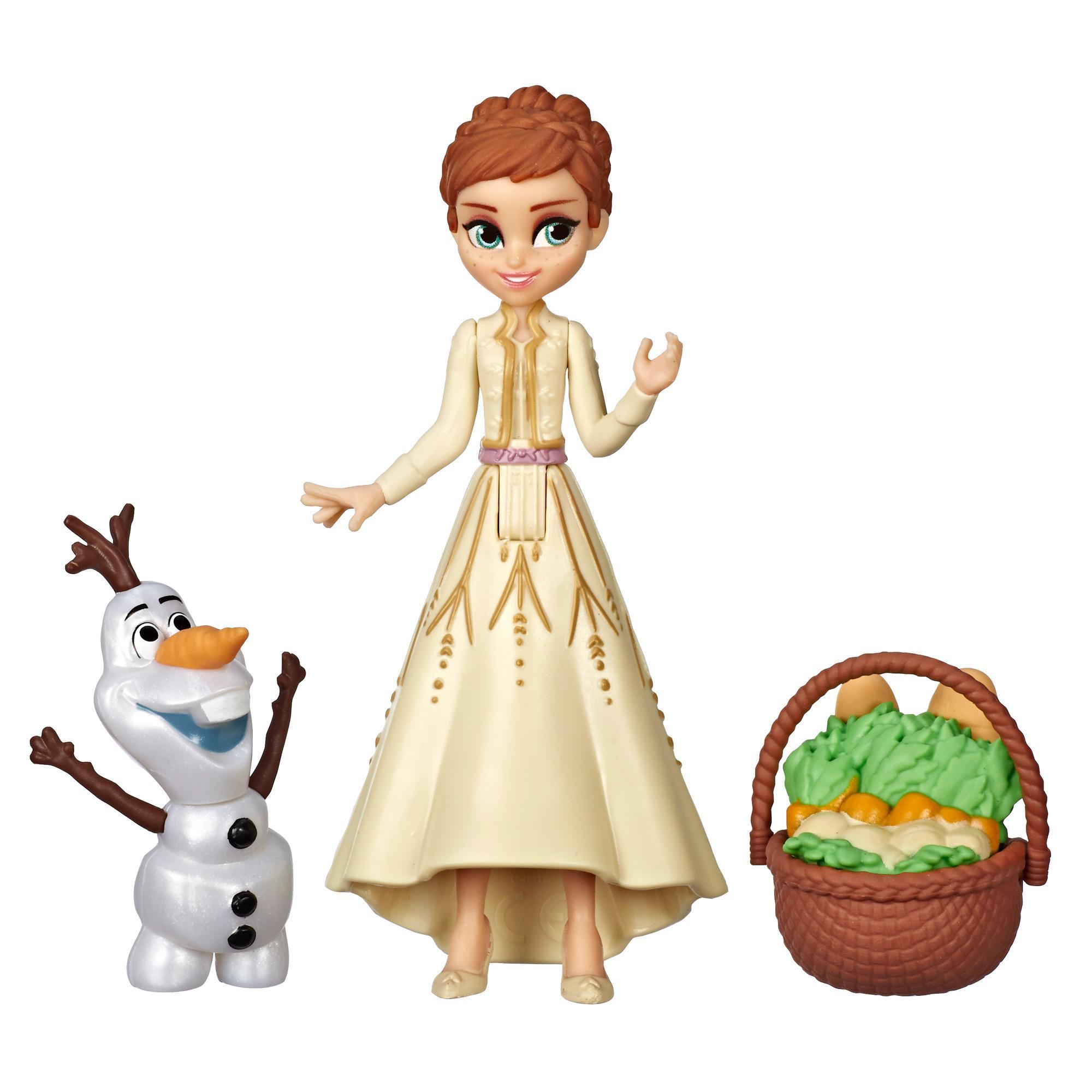Disney Frozen - Muñecas pequeñas de Anna y Elsa y canasta como accesorio - Set inspirado en la película de Disney Frozen 2