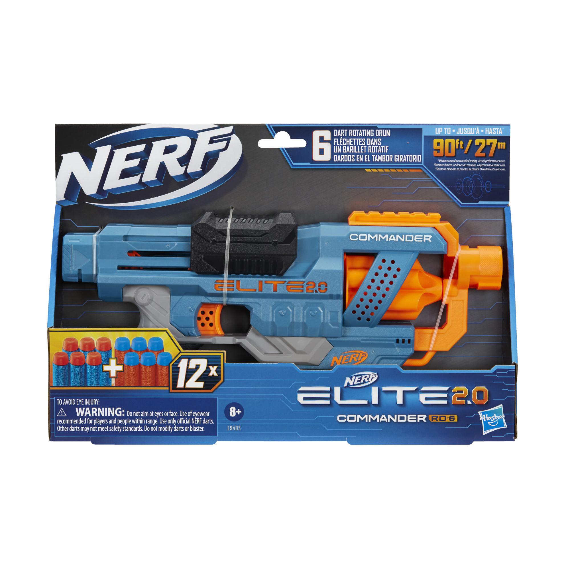 Lanzador Nerf Elite 2.0 Commander RD-6 - 12 dardos Nerf oficiales, tambor giratorio de 6 dardos, capacidad de personalización incorporada