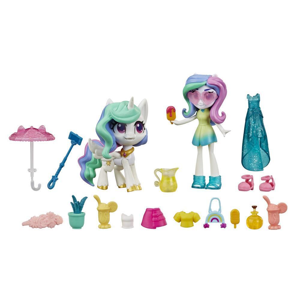 My Little Pony Equestria Girls - Princesa Celestia: princesa mágica - Minimuñeca de 7,5 cm, pony y 20 accesorios