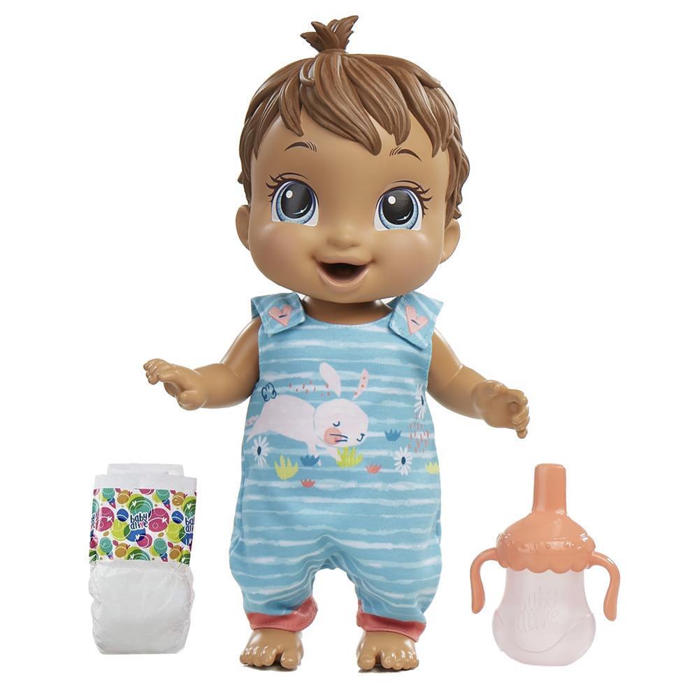 Baby Alive - Bebé saltitos y risitas - Ropa con estampado de conejito - Da saltitos, tiene 25+ efectos de sonido, toma agua, moja el pañal, pelo castaño - Edad: 3+