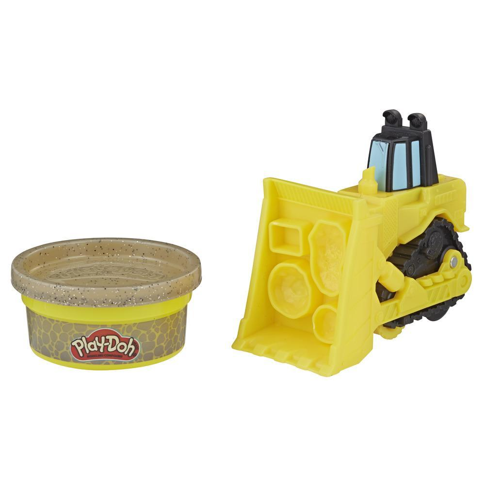 Play-Doh Wheels - Bulldozer pequeño de juguete con 1 lata de masa de construcción Play-Doh no tóxica color piedra